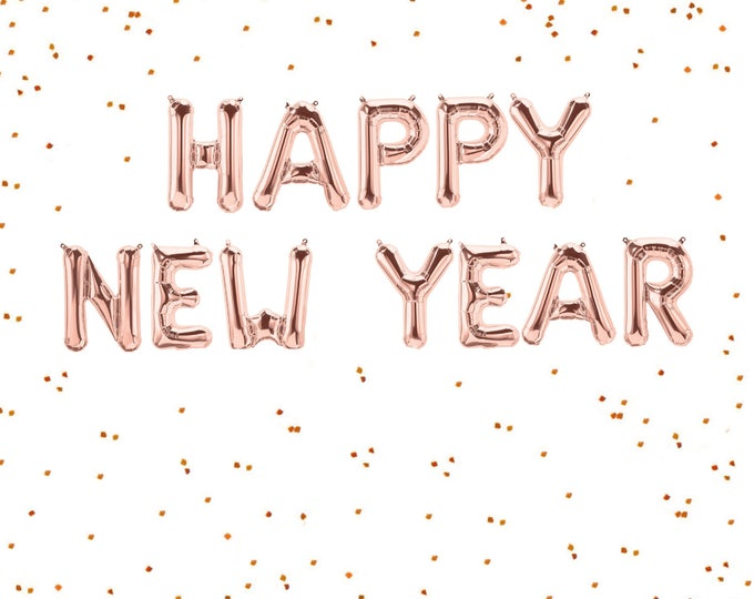 """Happy New Year Rose Gold Balloons, Happy New Year Balloons, Happy New Year Banner, Happy New Year Sign, Letter Balloons 40"""" and  14"""""""