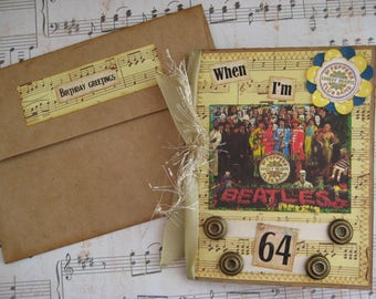 Beatles Birthday Card, When I'm 64, Sgt. Pepper's Lonely Hearts Club Band, 64th Birthday Card