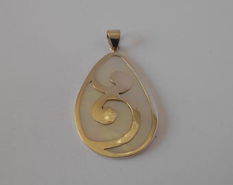 Handmade Sterling 925 silver and mother of pearl pendant.