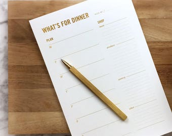Gold Meal Planning Notepad / Weekly Meal Planner with Tear-off Grocery List & Refrigerator Magnet / Gift for mom, her, hostess gift