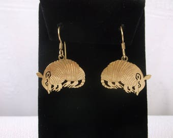 Vintage Fun Funky Armadillo Dangle Earrings by Wild Bryde, Gold Plate Cut Out Work, Cute Pierced Armadillos Jewelry