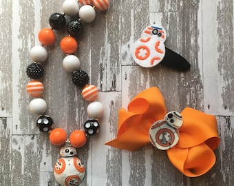 Star Wars BB-8 Hair Bow - BB8 Hair Bow - BB8 Shirt - BB8 outfit - Star Wars outfit