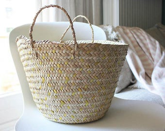 "Hand Braided Small African Straw Basket. Yellow or Purple with handles.Perfect Storage. 41x10.5"" Ethically Made in West Africa."