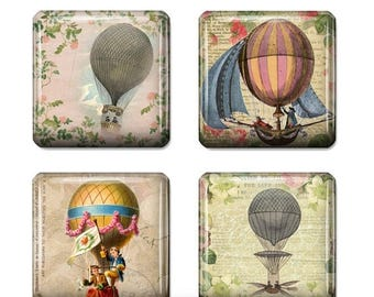 80 % off Graphics SaLe Vintage Hot Air Balloon Images Digital Collage 1 inch Square Scrabble Tile Images for Scrabble Tiles Resin Pendants G