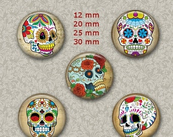 80% Off St Patricks Day Sugar Skull Jewelry Dia de los Muertos 1 Inch Circle Digital Collage Bottle Cap Jewelry Images Necklace, Magnets, St