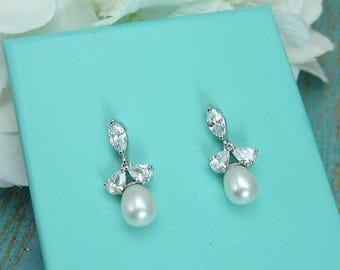 SALE Ends Monday Sparkle cz earrings, freshwater pearl bridal earrings, cubic zirconia earrings, wedding jewelry, wedding earrings,  2106987