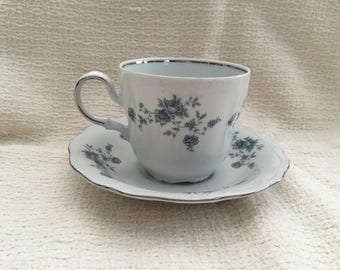 Johann Haviland, Traditions Fine China, Blue Garland, Thailand, Blue Floral on White, Cup and Saucer, 1990s