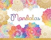 Mandala Clipart Set - Rainbow & Gold - Indian, Thai, Yoga, Holistic Circles - Colorful Mandalas - INSTANT DOWNLOAD - 26 .PNG Files