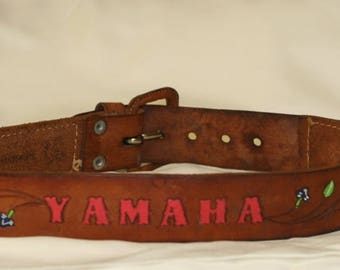 Vintage Tooled Leather Yamaha Belt - Tooled Leather Belt