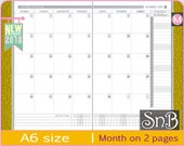 SnB A6 -  SmartPlan - Month on 2 pages (Monday start) - 2017 / 2018 - Printable Monthly insert for Traveler's Notebooks