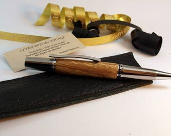 Ballpoint pen was carved ring, beech and leather case.