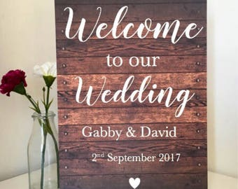 Custom Welcome Sign - rustic sign-wooden wedding sign -  calligraphy