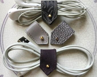 Cord Organizers |Leather Cord Holder| Cable Organizer|  Headphone Holder | iPhone Cord Holder| Cord Keepers| Purple Grey Mix| Sets of 2 or 4