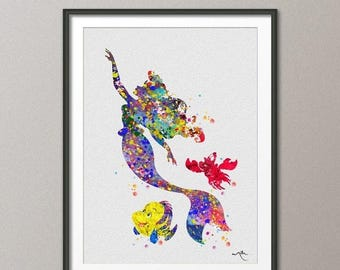 Little Mermaid Watercolor Print Flounder Sebastian Girls Room Art Print Wall Art Princess Baby Shower Nursery Wall For Kids Decor [No 285]