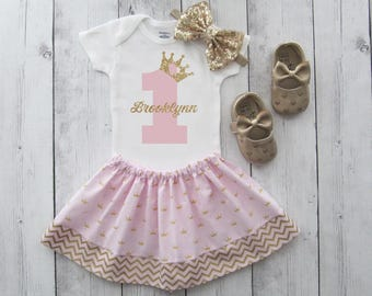 Princess First Birthday Outfit in pink and gold - girl birthday, pink gold princess, crown, personalized, crown 1, pink gold birthday outfit