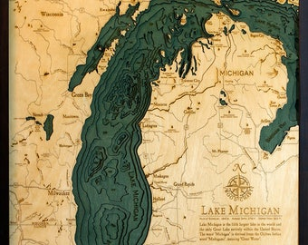 Lake Michigan Wood Carved Topographic Depth Map