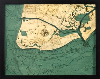 Cape May, New Jersey Wood Carved Topographic Depth Chart / Map