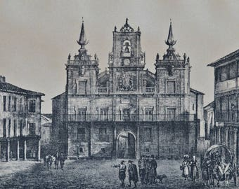 Astorga Town Council building (Spain). Architecture engraving. 1890 book plate. 127 years lithograph. 12'5 x 8'4 inches.