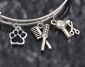 Pet Groomer Gift, Bangle Bracelet with charms, dog groomer thank you gift, cat groomer jewelry, paw print charm bracelet, stainless steel