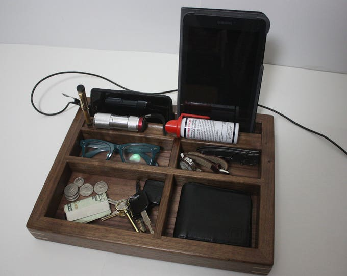 Black Walnut 'Grab and Go' Valet Tray, Box, Divided with Phone and Tablet Slot, Maple Corner Splines