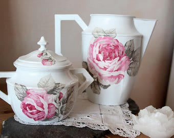 Set teapot Art Deco sugar bowl, redesigned - weathered white - shabby spirit
