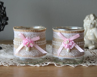 Romantic candles, jars with brushes, pens - linen and lace - shabby vibe