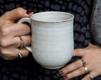 10oz Mug, Wheel Thrown Mug, Ceramic White Coffee Mug, Pottery Coffee Mug, Tea Mug, Gift for Grandmother, Gift to Me