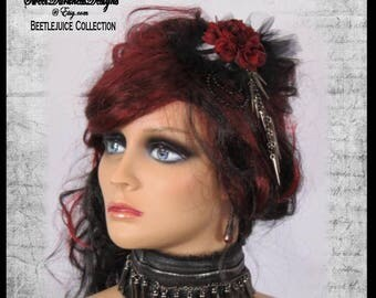 Gothic Red Rose Fascinator or Brooch