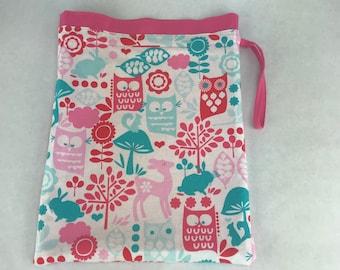 Pastel Owls - Knitting, Crochet or Fiber-work Project Bag
