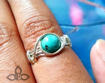Tibet Turquoise Ring,Turquoise Ring, Green Turquoise Ring, Wire Ring, 925 Sterling Silver Ring, Handmade Ring, Dailywear Ring, Women Ring