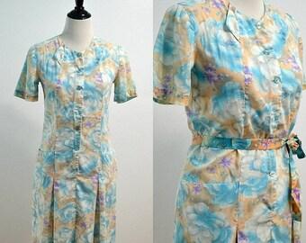 SUMMER SALE 1960s Drop Waist Day Dress   60s Vintage Dress   Blue Peach Floral Dress   Knee Length Dress   Medium M   Large L   Cotton Dress