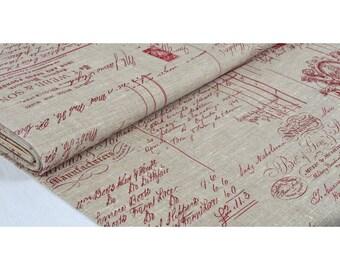 """Cherub red"" fabric 100% linen 150cm width"