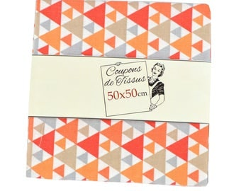 "Cut of fabric 100% cotton ""GAYA Orange"" 50cm X 50 cm"