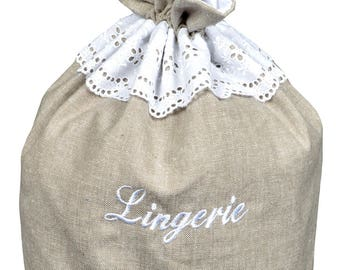 "Embroidery ""LINGERIE"" H30cm ""FANNY linen"" fabric purse"