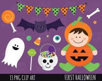 80% SALE HALLOWEEN clipart, first halloween clipart, kawaii halloween clipart, commercial use, kawaii clipart, ghost/bat/pumking/graphics