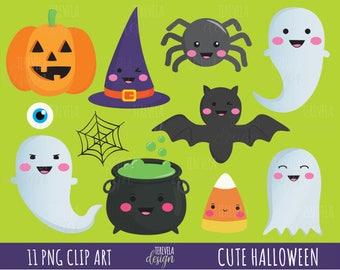 50% SALE HALLOWEEN clipart, cute halloween clipart, kawaii halloween clipart, commercial use, kawaii clipart, ghost/bat/pumking/graphics