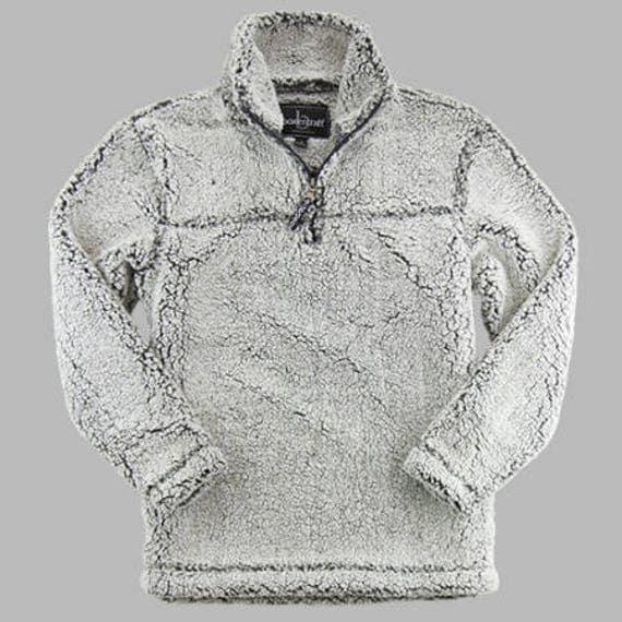 Monogrammed unisex Sherpa pullover Smoke Gray Sherpa