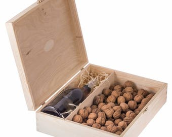 Wooden wine box, wooden wine box ceremony, unfinished winebox, natural wood box for wine&sweets, for decoupage, wedding gift, storage box