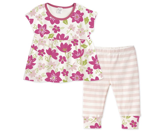 Baby Girl Summer Outfit, Baby Girl Top & Leggings, Baby Girl Shirt, Pink Floral, Striped Pants, Tesababe TL020FMFU0000