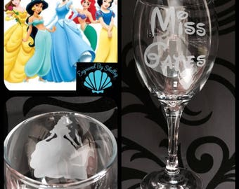SPECIAL OFFER! Personalised Disney Princess Wine Glass With Free Name Engraved In Disney Font. Thank You Teacher End Of Term Leaving Gift