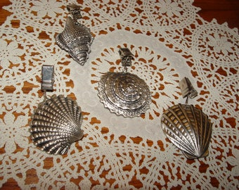 Vintage Ocean Beach Loving Pewter Seashell Tablecloth Weights ~ 4 Different Shells