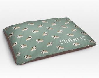 Personalized English Bulldog Dog Bed, Dog Beds, Large Pet Bed, Cute Bulldog Dog Duvet, Custom Name Dog Bed Pillow, Dog Gifts for dog