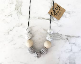 Grey crochet beaded necklace