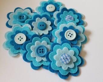 x8 Felt Flower Embellishments.Die cut flowers.layered flowers. Die cut shapes.felt craft flowers.free p&p