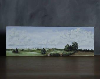 Panoramic Landscape Painting, Cloud Painting, Rustic Home Decor, Country Landscape, Original Canvas Painting, Panorama Landscape, Cloud Art