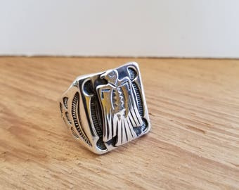 Vintage Classic Sterling Silver Thunderbird Ring Fred Harvey Native American Size 9-1/2 Crossed Arrows Eagle Peyote
