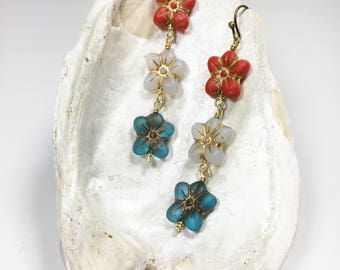 Red White and Blue Earrings, Patriotic Jewelry