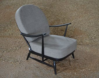 Vintage Ercol 203 Armchair in Black with Soft Grey Cushions
