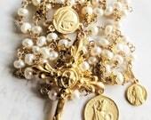 Rosary - King Louis IX & Ste Marie Madeleine - Freshwater Pearl - 18K Gold Vermeil