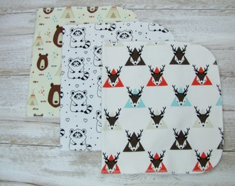 Baby burp cloths Set of 3. Baby gift. Gender neutral burp cloths. Ready to ship.